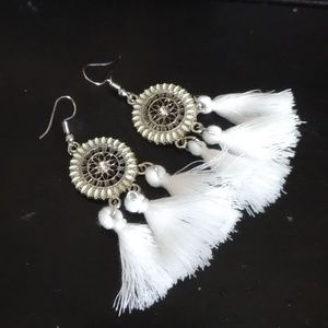 Asos circle Moroccan pom pom earrings